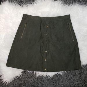 {Mint} Suede Green Skirt